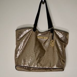 ⭐️Victoria's Secret Gold Glittery Weekender Tote